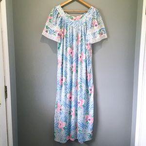 60's Vintage Pastel Blue Floral Nightgown Hamilton